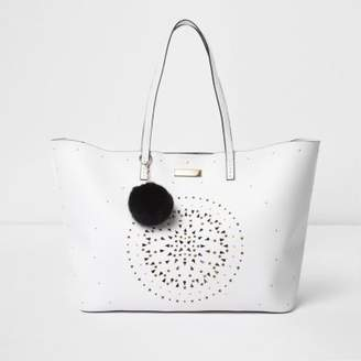 River Island Womens White laser cut eyelet large tote bag