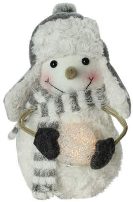 Northlight Plush Christmas Snowman in Trapper Hat Holding Lighted Snowball