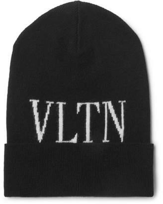 Valentino Logo-Intarsia Virgin Wool And Cashmere-Blend Beanie