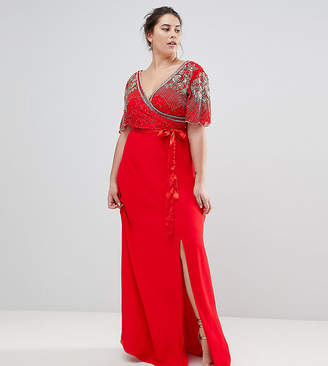Virgos Lounge Plus Julisa Wrap Maxi Dress With Embellishment