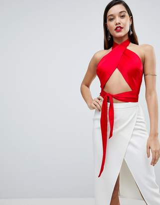 Asos Design Sexy Wrap Halter With Tie Detail