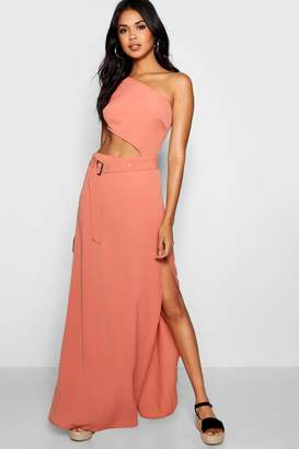 boohoo Paige One Shoulder Belted Maxi Dress