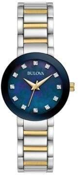 Bulova Ladies' Diamond Two-Tone Gold Blue Dial Watch 98P157