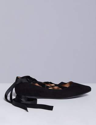Lace-Up Pointed-Toe Flat