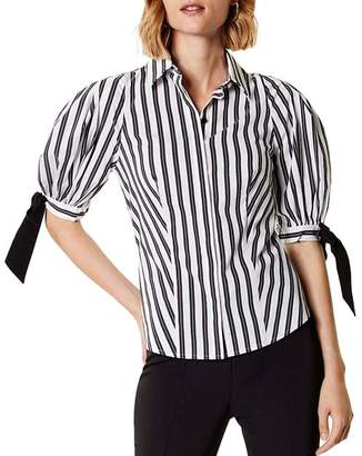 Karen Millen Puff-Sleeve Striped Shirt