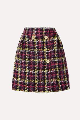 Versace Checked Wool-blend Tweed Mini Skirt - Pink
