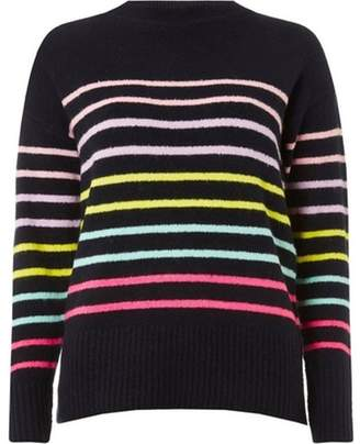 Dorothy Perkins Womens Navy Stripe Crew Neck Jumper