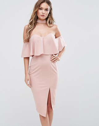 Ginger Fizz Bardot Midi Dress with Overlay And Choker Detail $58 thestylecure.com