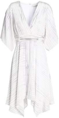 Halston Printed Silk-Crepe Mini Dress