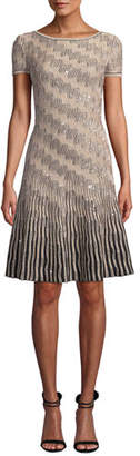 St. John Sequin Inlay Trellis Knit Short-Sleeve A-line Dress