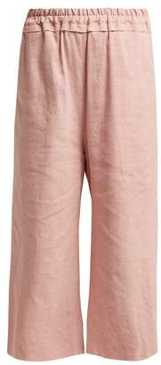 By Walid Dania Cropped Linen Trousers - Womens - Light Pink