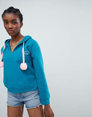 Sugar Dust Crooped Hoodie with Emboidery and Large Pom Poms