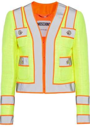 Moschino Neon-Trimmed Coated Cotton-Blend Gauze Jacket