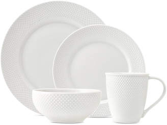 Godinger Closeout! Pique 16-Pc. White Embossed Dinnerware Set, Service for 4