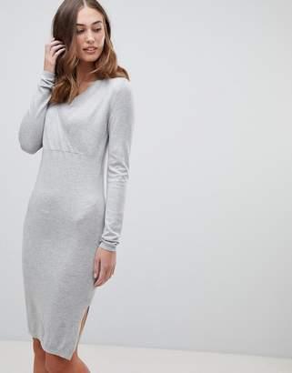 Mama Licious Mama.licious Mamalicious nursing knitted midi sweater dress in gray