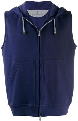 Brunello Cucinelli sleeveless zip-up hoodie