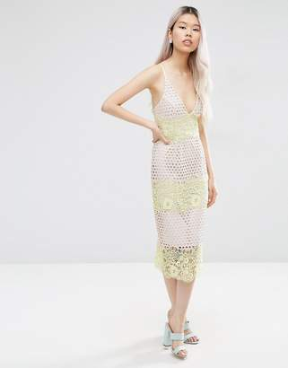 Asos Pastel Stripe Lace Panel Midi Pencil Dress