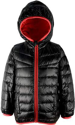 American Trends Girls Kid Children Duck Down Jacket Colorblock Kids Packable Quilted Hoodie Coat