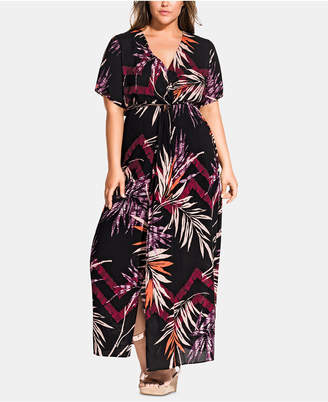 City Chic Trendy Plus Size Printed Short-Sleeve Maxi Dress