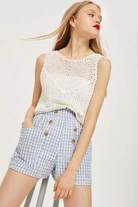 Topshop Gingham Broidery Shorts
