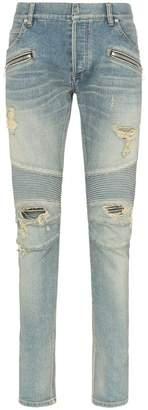 Balmain distressed logo patch biker jeans