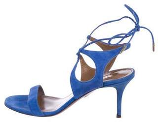 Aquazzura Suede Lace-Up Sandals
