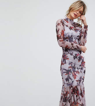 Hope And Ivy Hope & Ivy Long Sleeve Floral Printed Mesh Dress With Peplum Hem