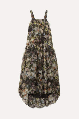 ADAM by Adam Lippes Tiered Floral-print Silk-organza Maxi Dress - Black