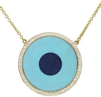 Jennifer Meyer Turquoise Inlay and Lapis Center Eye Necklace with Diamonds - Yellow Gold