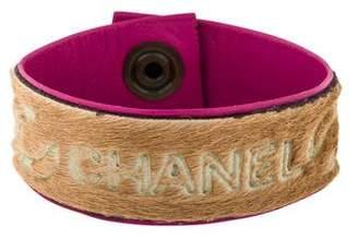 Chanel Pony Hair & Leather Snap Bracelet
