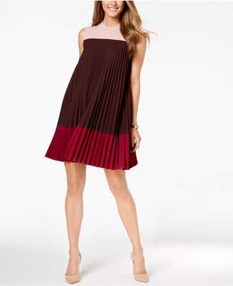 Alfani Petite Pleated Colorblocked Dress