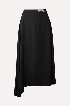 Prada Asymmetric Pleated Crepe Midi Skirt - Black