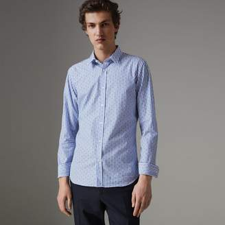 Burberry Slim Fit Fil Coupé Striped Cotton Shirt