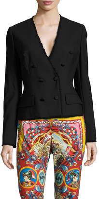 Dolce & Gabbana Women's Distressed Trim Double Breasted Blazer