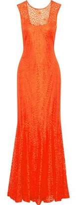 Mikael Aghal Fluted Cutout Lace Gown
