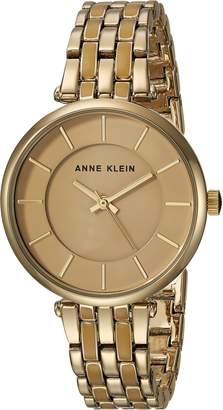 Anne Klein Women's AK/3010TNGB Gold-Tone and Tan Bracelet Watch