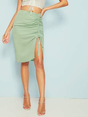 Shein Solid Drawstring Ruched Zip Back Skirt