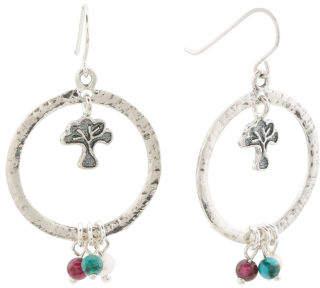Made In Israel Sterling Gemstone Tree Of Life Earrings