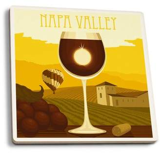 Napa Valley, California - Wine Glass & Vineyard - Lantern Press Artwork (Set of 4 Ceramic Coasters - Cork-backed, Absorbent)