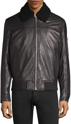 HUGO Lanzo Shearling Collar Leather Bomber Jacket