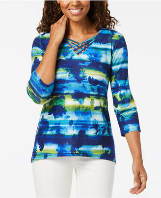 Alfred Dunner Royal Street Printed Embellished-Lattice Neck Top