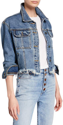 Hidden Jeans Frayed Cropped Denim Jacket