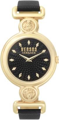 Versace Sunnyridge Leather Strap Watch, 34mm