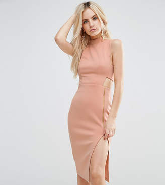 Asos High Neck Tabard Midi Dress With Exposed Zip