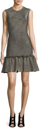A.L.C. Kilmer Crewneck Sleeveless Metallic Knit Mini Dress