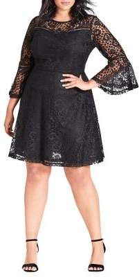 City Chic Plus Gypsy Lace Fit-&-Flare Dress