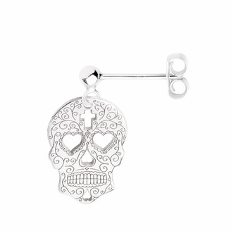 Cartergore Silver Sugar Skull with Heart Eyes Single Short Drop Earring