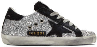 Golden Goose Silver and Black Glitter Superstar Sneakers