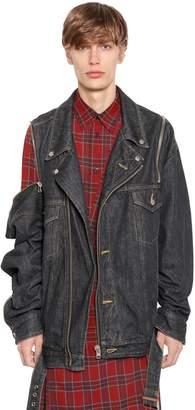 Facetasm Oversized Denim Biker Jacket W/ Zips