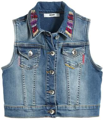 MSGM Embroidered Stretch Denim Vest